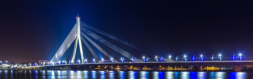 Riga bridge at night