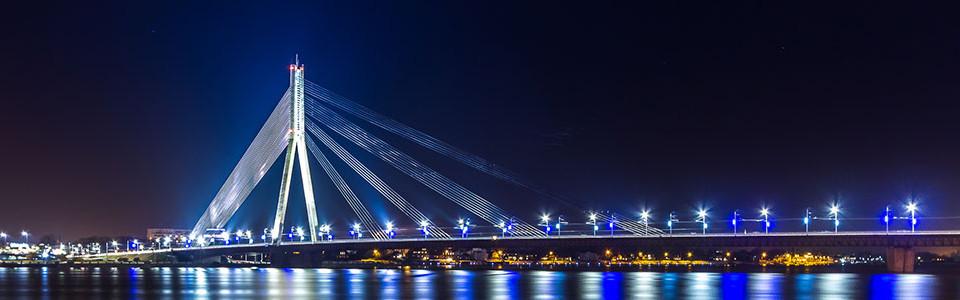 Riga bridge at night